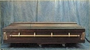 A picture of a closed homemade coffin or casket.