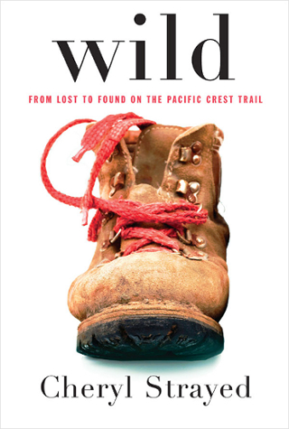 A picture of the book cover For Wild By Cheryl Strayed which shows one old worn hiking boot against a white background.