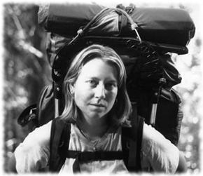 A picture of Cheryl Strayed hiking the Pacific Crest Trail that she talked about in her book Wild.
