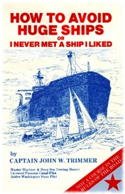 Alternate book cover for How To Avoid Huge Ships that shows a blue and white drawing of three ships.