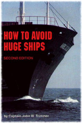 A picture of the book cover for How To Avoid Huge Ships that shows a giant ship in the water in front of you.