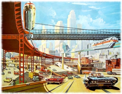 Painting of a vision of the typical American city of the future as imagined by someone in the 1950's.