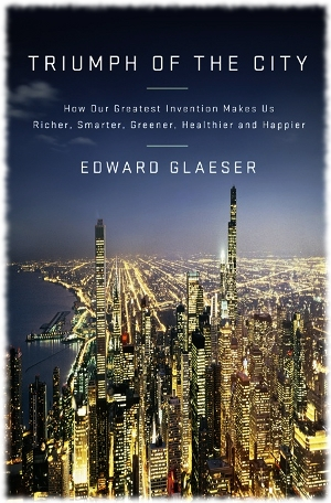 Picture of a book cover for the book Triumph Of The City by Edward Glaeser showing a cityscape stretching into the distance.