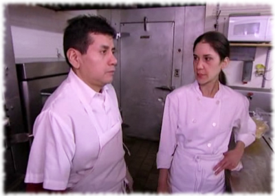 Scene from Kitchen Nightmares where Chef Julieta talks to the kitchen staff of Fiesta Sunrise Mexican restaurant, now closed.