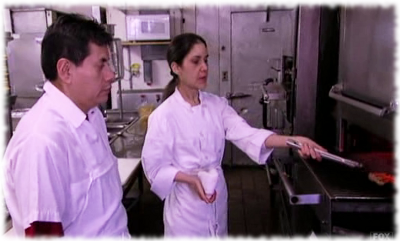 Scene from Gordon Ramsay's Kitchen Nightmares where Chef Julieta instructs Fiesta Sunrise cooks on how to cook basic Mexican food.