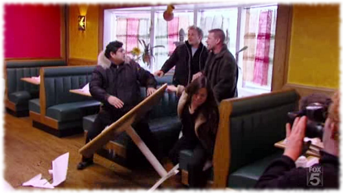 Picture of a fight on Gordon Ramsay's Kitchen Nightmares show between Don and Vic at Fiesta Sunrise restaurant.