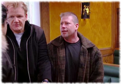 Gordon Ramsay tries to break up a fight on his show Kitchen Nightmares.