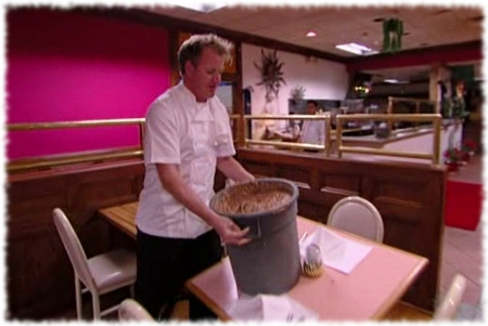 Gordon Ramsay breaks table with bin full of beans while closing down Fiesta Sunrise restaurant.