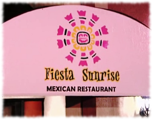 Closeup picture of the Fiesta Sunrise sign that Kitchen Nightmares put up in the front of the restaurant.