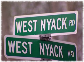 Street signs of the intersection between West Nyack Road and West Nyack Way on the Fiesta Sunrise restaurant episode of Kitchen Nightmares.