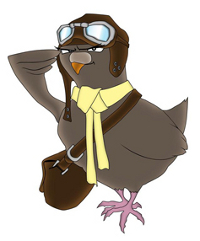 Picture of a carrier pigeon in old style airplane gear and wearing a satchel full of stories to deliver.